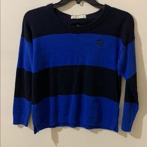 Blue striped Abercrombie cropped sweater bow back